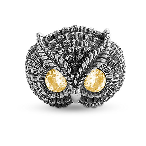Belcho USA 925 Sterling Silver Owl Ring with Yellow CZ Eyes