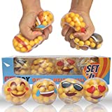 alesTOY DNA Stress Balls, 4 PACK Squishy Balls / Stress Relief Balls for Kids and Adults, Sensory Rubber Ball, Ideal for Autism, Anxiety & More(4 Pack Different Emoticon Faces)