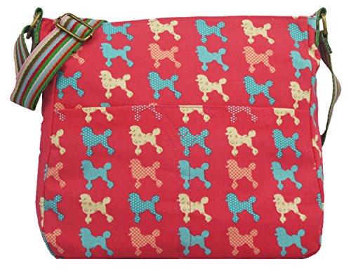 Kukubird Poodle Pattern Crossbody Design Tote Top-Handle Shoulder Bag Handbag - Red