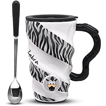Angelice Home Zebra Coffee Mug, Ceramic Funny Large Capacity Cup Mug with Lid and Spoon for Men and Women