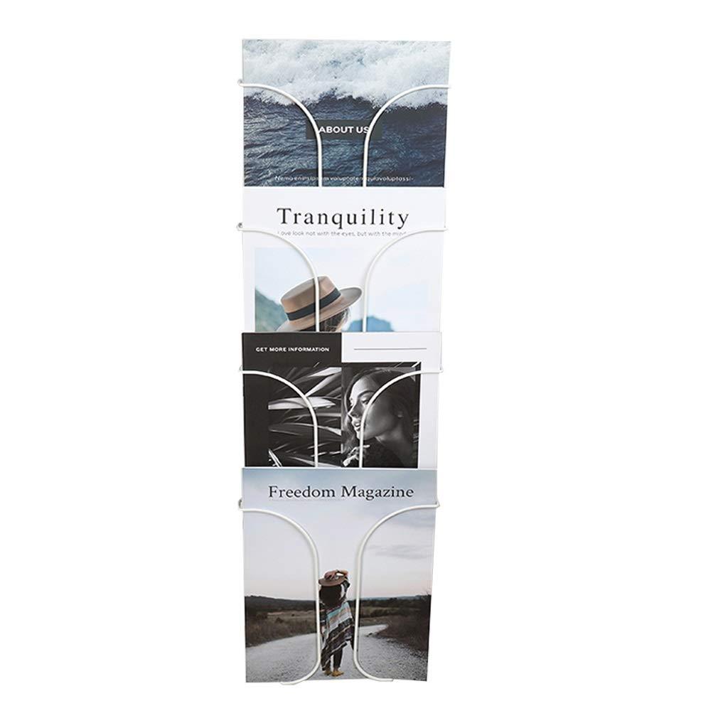 AJZGF Portariviste Indipendente Espositore a Muro for mensola Espositore da Parete Titolare di giornali Color : White, Size : 22 * 72.5cm