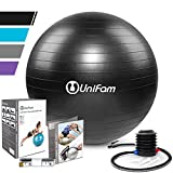 Exercise Stability Ball Chair with Hand Pump Use For CrossFit, Yoga, Balance & Core Strength Training, Non-Slip & Anti-Burst Extra Thick Fitness Ball(Black&65CM)
