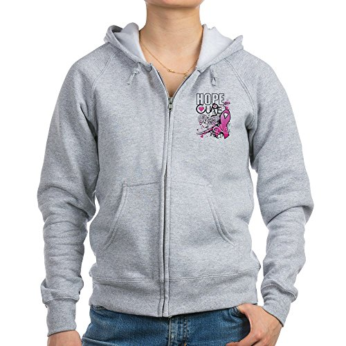 Royal Lion Women's Zip Hoodie Cancer Awareness Hope for a Cure - Light Steel, Medium