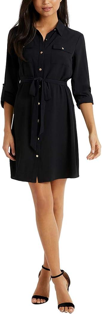 Lipsy Mujer Vestido Estilo Camisa Negro EU 36 (UK 8): Amazon ...