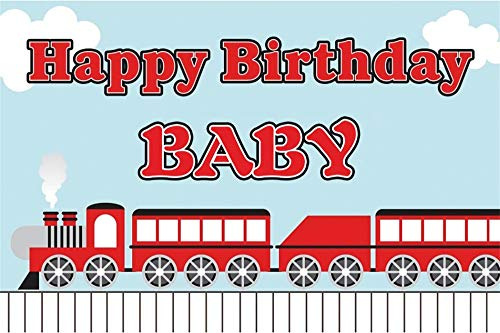 AOFOTO 8x5ft Polyester Happy Birthday Backdrop Cartoon Red Train Iron Horse Letter Clouds Photography Background Baby Shower Kids Children Bday Celebration Portrait Photo Studio Backcloth Screen
