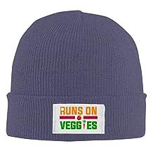 Mens Womens Runs On Veggies Funny Vegan Vegetarian Knit Beanie Cap
