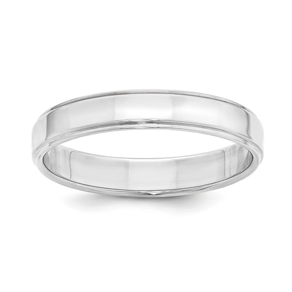 Wedding Bands USA SS 4mm Flat with Step Edge Size 6.5 Band