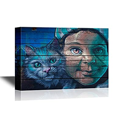 Canvas Wall Art - Graffiti Featuring a Kid and a Cat - Gallery Wrap Modern Home Art | Ready to Hang - 24x36 inches