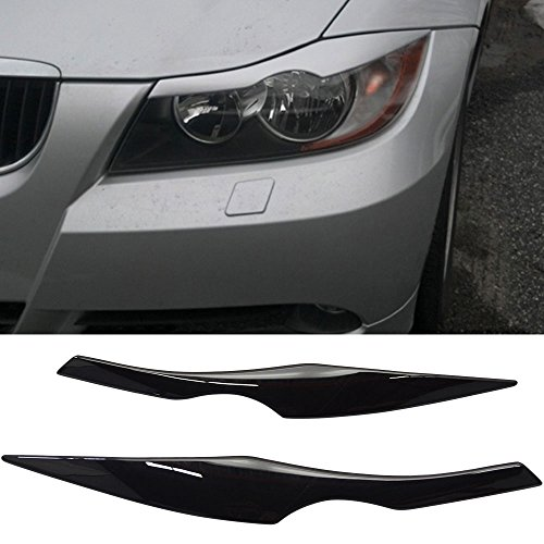Pre-painted Eyelid Fits 2006-2011 BMW 3 Series E90 | ABS OEM Painted #475 Sapphire Black Headlight Eyelid Eyebrow Other Color Available By IKON MOTORSPORTS | 2007 2008 2009 2010