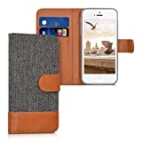 kwmobile Wallet case canvas cover for Apple iPhone SE / 5 / 5S - Flip case with card slot and stand in anthracite brown