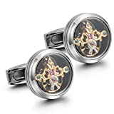 Dich Creat Stainless Steel Golden Emboss Tourbillon Cufflinks With Swarovski Crystal Inlay