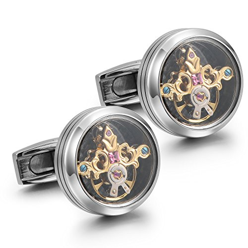 Dich Creat Stainless Steel Golden Emboss Tourbillon Cufflinks With Swarovski Crystal Inlay by Dich Creat