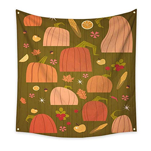 BlountDecor Colorful Tapestry Pumpkins Set Harvest Autumn Concept Vegetables and Fruits Collection 70W x 70L Inch