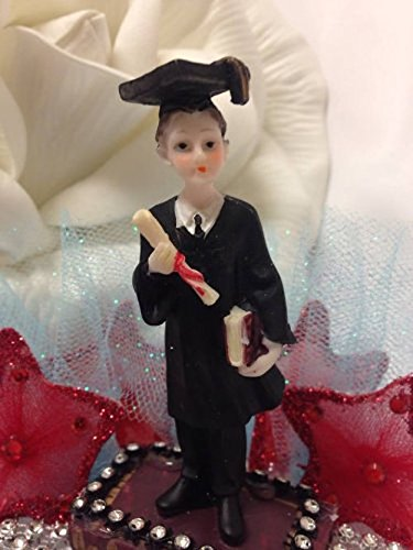 Graduation Boy Cake Topper Centerpiece Favor Figurine High School College Decoration with Stars