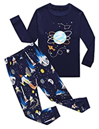 Family Feeling Space Little Boys Pajamas Sets 100% Cotton Clothes Toddler Kids