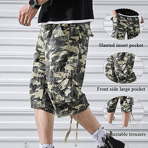 OEAK Shorts Cargo Homme Rétro Baggy Pantacourt Camouflage Outdoor Bermudas Casual Combat Pantalon Court Militaire Multi… 6
