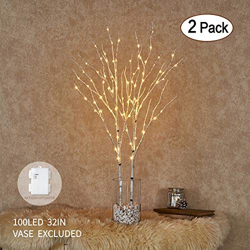 Hairui Twig Birch Branch with Fairy LED Lights 32in 100LED Battery Operated Lighted White Willow Branch for Home Party Decoration Indoor Outdoor Use 2 Pack (Vase Excluded)