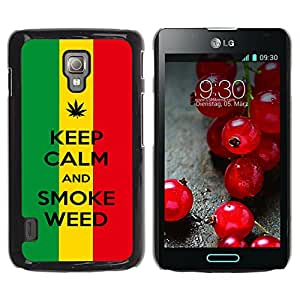 Graphic4You Keep Calm and Smoke Weed Design Thin Slim Rigid Hard Case Cover for LG Optimus L7 II