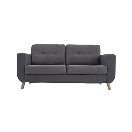 Peachy Modern 2 Seater Fabric Sofa Upholstered Settee Loveseat Couch For Small Home Lounge Living Room Linen Fabric In Grey Dailytribune Chair Design For Home Dailytribuneorg
