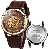 ManChDa Mens Engraved Wrist Watch, Personalized Gift to My Son from Mom dad, Fashion Customization Brown Leather Band Skeleton Wood Dial Automatic Mechanical Wrist Watch for Men