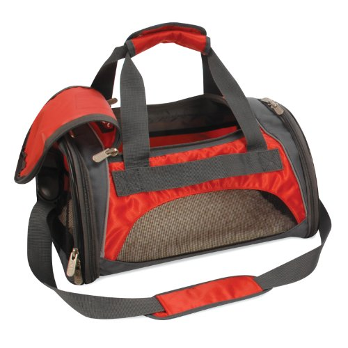 - SHERPA SPORT DUFFLE Dog Cat Animal Pet Carrier Bag & Tote. Airline/Subway/Rail Approved. Size-Medium Color-Red w/ Reflective Sliver Trim