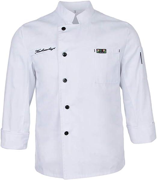 perfeclan Chef Uniforme de Manga Corta Chaqueta Camarero Camisa Chef Ropa Cocina Hotel: Amazon.es: Ropa y accesorios