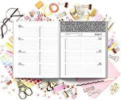 """Weekly /& Monthly Planner 19x23cm 2019 Weekly Planner Pink Stripes /& Gold Polka Dots 4763 Portable Format 7.5/""""x9.25/"""" 12 Months"""