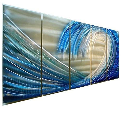 Silver & Blue Wave, Beach, Ocean Tropical Wall Painting - Abstract Wall Accent in Blue and Silver - Panel Art, Wall Sculpture, Wall Decor, Metal Art - Shoot the Curl By Jon Allen