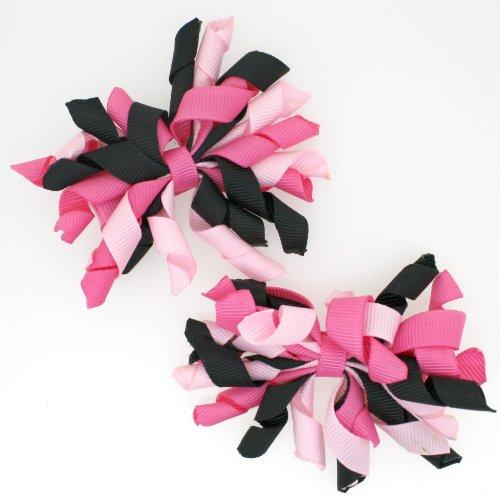 Mini Korker Hair Bow Clips Set of 2 (Hot Pink/Black/Light Pink)