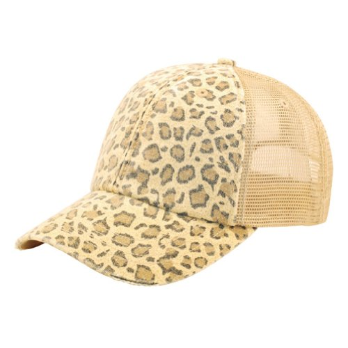 Low Profile Canvas Leopard Print Mesh Trucker Cap, Khaki
