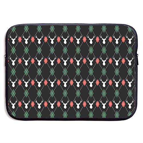 Jomenten Christmas and New Year Pattern Argyle with Deers 13/15 Inch Laptop Sleeve Bag for MacBook Air 11 13 15 Pro 13.5 15.4 Portable Zipper Laptop Bag Tablet Bag,Diving Fabric,Waterproof - Argyle Deer