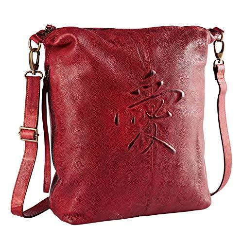 Catalog Classics Women's Kanji Love Symbol Red Leather Handbag Purse Crossbody