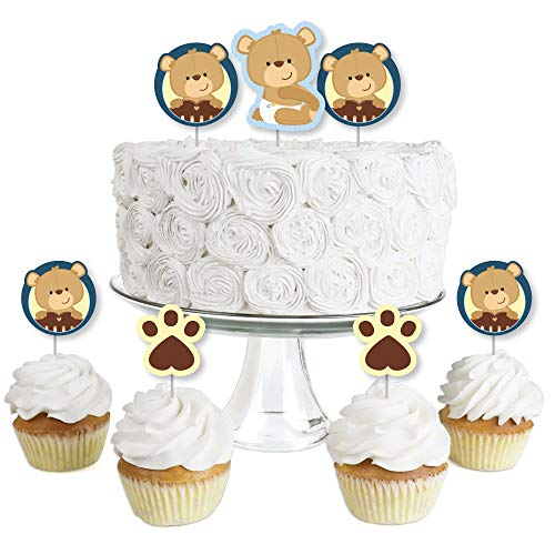 Baby Boy Teddy Bear - Dessert Cupcake Toppers - Baby Shower Clear Treat Picks - Set of 24 -