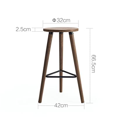Amazon.com: Retro Bar Solid Wood High Stool Circular Iron ...