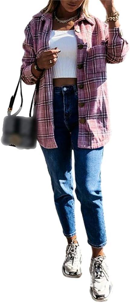 L/&ieserram Damen Karierte Jacke Kn/öpfe Oversized /Übergangsjacke Kurz Overshirt mit Karomuster Taschen Langarm Leichte Hemd Jacke E-Girl Style Y2K Boyfreind Herbst Oberteile Top