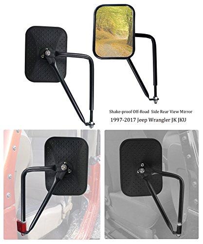Bolaxin Black Diamond Rectangular Shake-proof Off-Road Door Off Side Rear View Mirror for 1997-2018 Jeep Wrangler JK JKU – Pack of 2