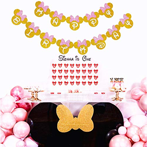 Minnie Happy Birthday Banner, Mouse Style Party Decorations, Preschool Party Supplies, Pre-Kindergarten Toys Baby Shower for Girls by DK