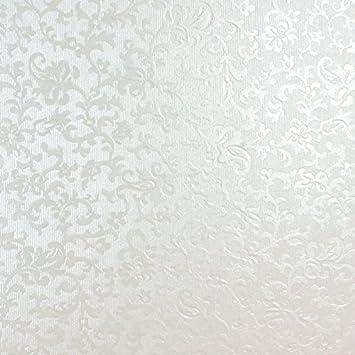 Tapisserie Blanc Avec Motif Floral En Relief A4 Nacre Carte Superbe