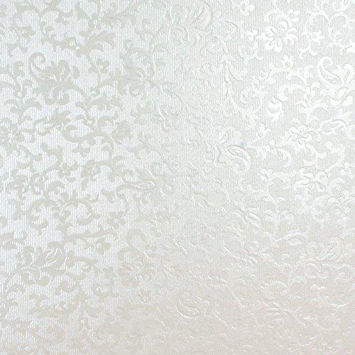 A4C16 Carta per tappezzeria con ricamo, colore: bianco con motivo floreale, stile vintage, formato A4, carta a effetto perlato, straordinario design, leggero effetto glitterato, confezione da 10 Syntego