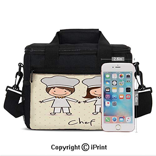 Chef Hat and Uniform Kitchware Vintage Style Design Home and Cafe Polkadots Kids Print Lunch Bag Portable Insulated Lunch Boxes with Zipper and Pocket,Pastel Blue Cream