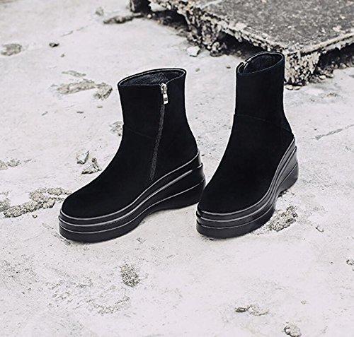 Chaussures Fermeture latérale Bottes épais femme en Khskx Bottes Tête Bare Éclair et Martin noir hautes Vache Unique bas de new Chaussures et ronde courtes bottes aXqwvz7