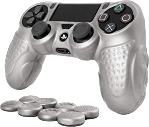 CHINFAI PS4 Controller DualShock4 Skin Grip Anti-Slip Silicone Cover Protector Case for Sony PS4/PS4 Slim/PS4 Pro Controller with 8 Thumb Grips (Silver)