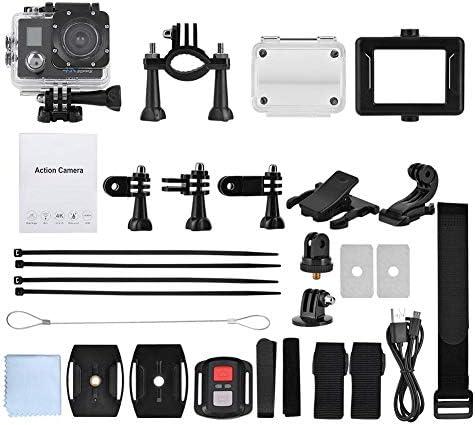 WiFi防水カメラ、4K 30FPS HD 2インチLCDダブルスクリーンスポーツ30 m防水WiFiアクションカメラバッテリーアクションカメラセット