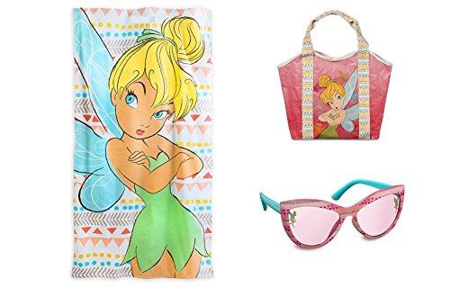 Disney Store Tinkerbell Towel Swim Bag & Sunglasses Girls Swimwear 3pc Gift Set NEW (Tinkerbell Bathing Suit)