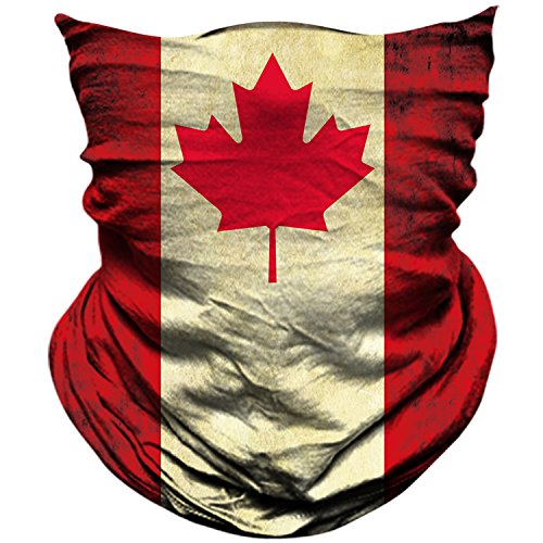 AXBXCX Canada Flag Outdoor Face Mask Bandana Moisture Wicking Neck Gaiter Dust UV Sun Protection for Demonstration Fishing Motorcycle Ski Snowboard Off-Roading Men and Women (Canada Ski)