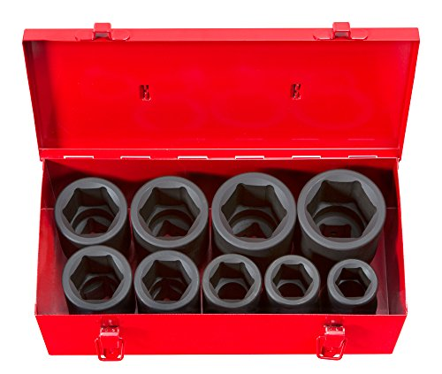 TEKTON 1-Inch Drive Deep Impact Socket Set, Inch, Cr-Mo, 6-Point, 1-Inch - 2-Inch, 9-Sockets | 4892 (Drive Socket 2 1 Set)