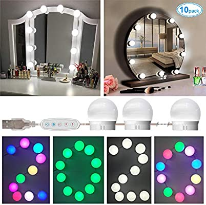 Selfila Vanity Lights For Mirror Adjustable Rgb Color Diy Hollywood Style Led Vanity Mirror Lights Kit Usb Makeup Mirror Lights Stick On Bathroom Mirror Usb Charger Not Include 10 Bulbs Buy Online At Best