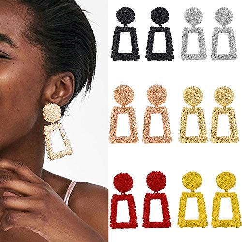 WAINIS 6 Pairs Vintage Metal Statement Dangle Earrings for Women Girls Boho Geometric Drop Earrings Set