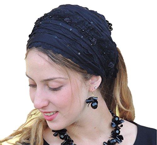 Sara Attali Design Tichel Headscarf Half Hair Covering Imperial Laces Wrap Headband One Size Black