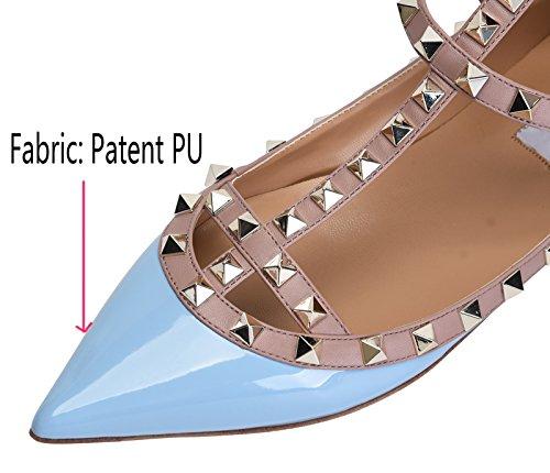Jiu Du Vrouwen Sexy Enkelband Flats Schoenen Wees Teen Fashion Klinknagels Partijschoen Hemelsblauw Patent Pu